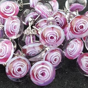 Pink/purple rose glass earstuds